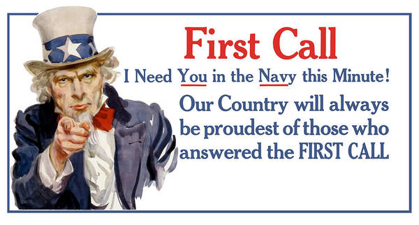 Ww1 Poster featuring the painting I Need You In The Navy - Uncle Sam WWI by War Is Hell Store