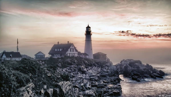 Architecture Poster featuring the photograph Portland Head Light Summer Sunrise by Richard Bean