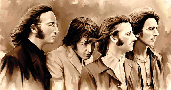 The Beatles Paintings Poster featuring the painting The Beatles Artwork 4 by Sheraz A
