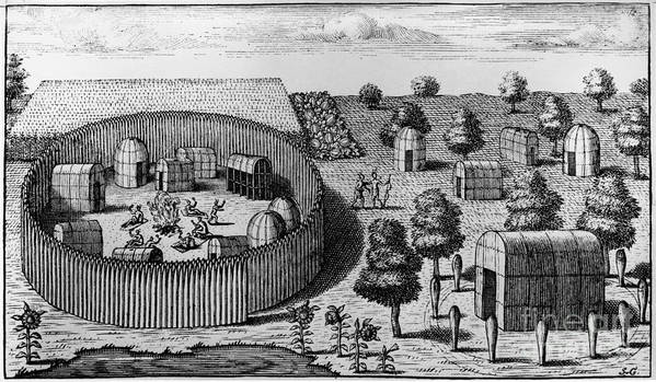 1705 Poster featuring the photograph Native American Village by Granger