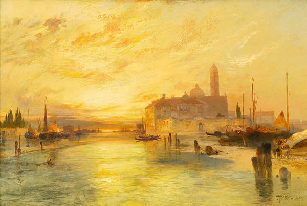 Moran Poster featuring the painting Venice by Thomas Moran