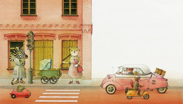 Striped Zebra Cat Cars Street Traffic Old Town Red Children Illustration Book Animals Poster featuring the drawing A Striped Story02 by Kestutis Kasparavicius