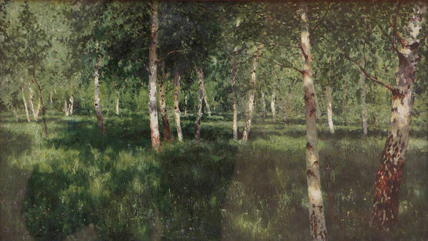 Isaac Levitan Poster featuring the painting Birch Grove by Isaac Levitan