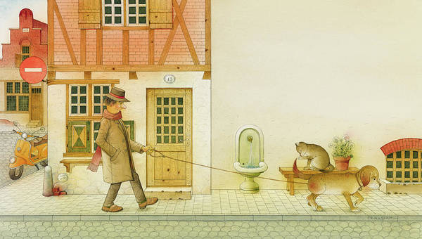 Dog Life City Old Town Street Cat House Illustration Children Book Drawing Animals Poster featuring the painting Dogs Life10 by Kestutis Kasparavicius