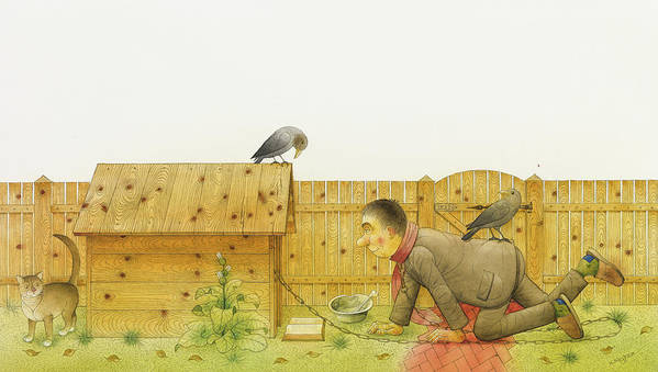 Dog Life Lifestyle House Open Air Raven Cat Animals Grass Illustration Children Book Drawing Poster featuring the painting Dogs Life11 by Kestutis Kasparavicius