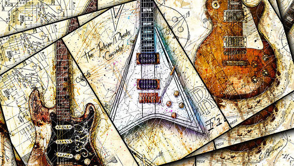 Guitar Poster featuring the digital art Iconic Guitars Panel 1 by Gary Bodnar