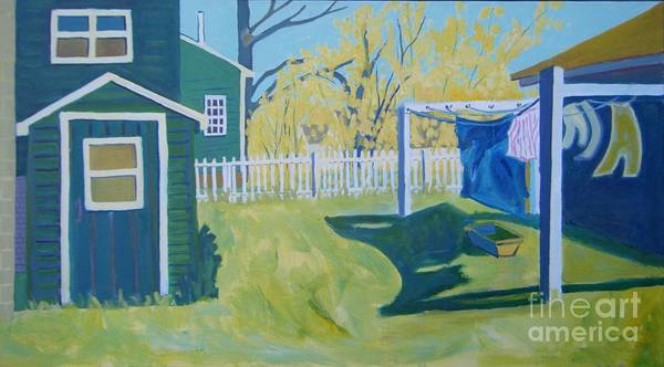 Backyard Poster featuring the painting Line Of Wash by Debra Bretton Robinson