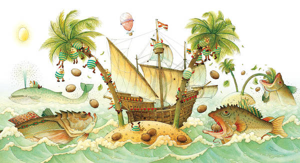 Eggs Easter Marine Poster featuring the painting Marine Eggs by Kestutis Kasparavicius