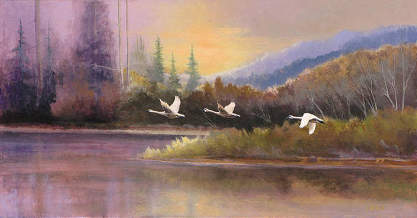 Landscape Poster featuring the painting Northern Flight by Dalas Klein