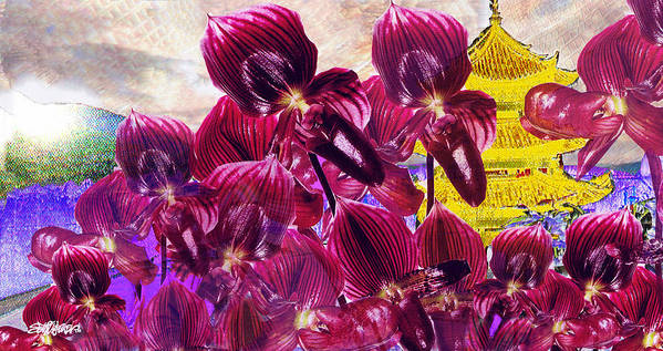 Far East Poster featuring the digital art Oriental Orchid Garden by Seth Weaver
