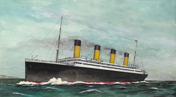 Gouache Poster featuring the painting RMS Titanic by The Collectioner