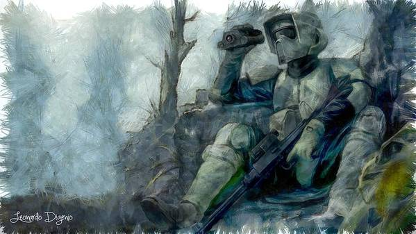 Star Wars 7 Poster featuring the painting Star Wars Scout-trooper by Leonardo Digenio
