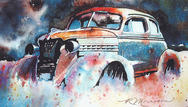 Chev Poster featuring the painting StarlightChevy by Ron Morrison