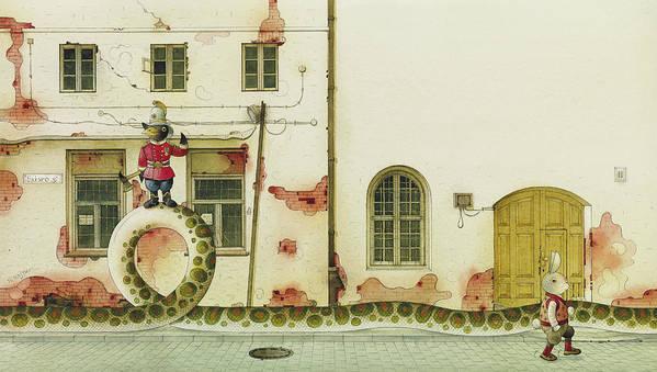 Snake Raven Rabbit Illustration Children Book Fairy Tale Street House Windows Poster featuring the painting The Neighbor around the corner03 by Kestutis Kasparavicius