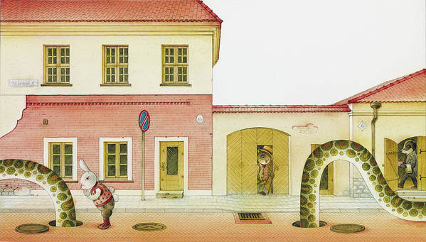Snake Street Illustration Watercolor Children Book Old Town Rabbit Poster featuring the painting The Neighbor around the Corner04 by Kestutis Kasparavicius