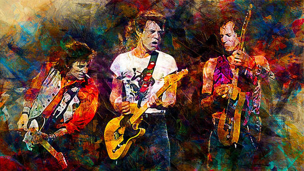 The Rolling Stones Poster featuring the digital art The Rolling Stones by Lilia Kosvintseva