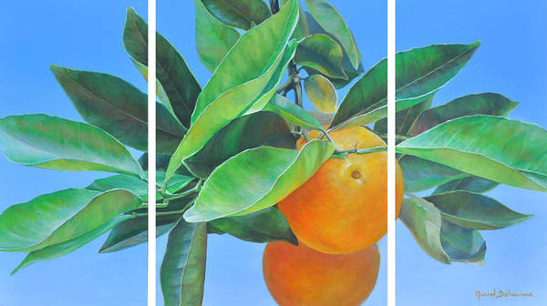 Acrylic Painting Poster featuring the painting Triptyque Orange by Muriel Dolemieux
