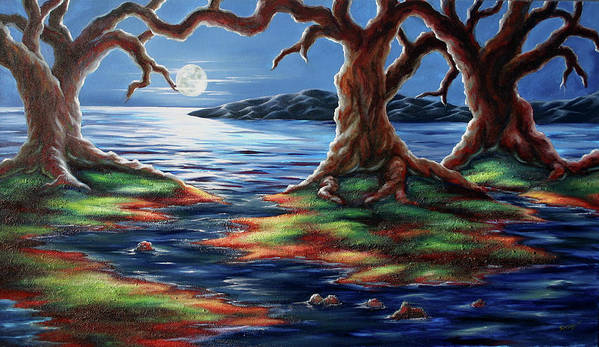 Textured Painting Poster featuring the painting United Trees by Jennifer McDuffie
