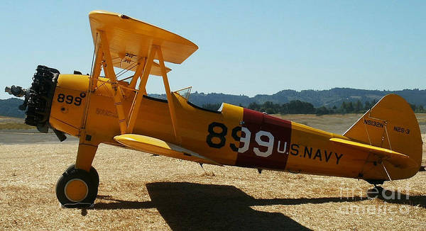 Diane Berry Poster featuring the painting US Navy biplane by Diane E Berry