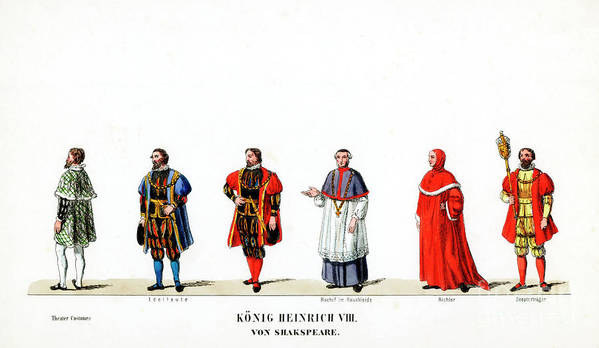Engraving Poster featuring the drawing Theatre Costume Designs by Print Collector