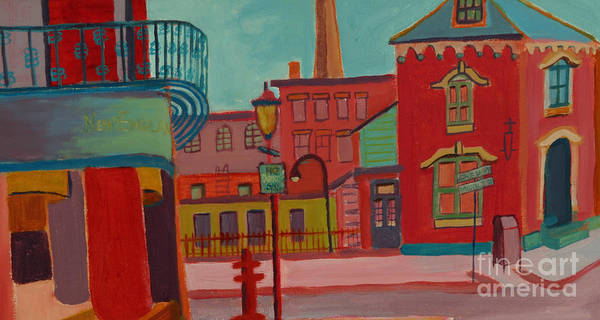 Cityscape Poster featuring the painting Middle Street in Lowell MA by Debra Bretton Robinson