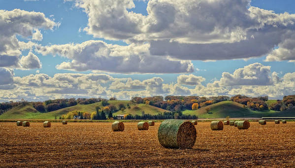Landscape Poster featuring the photograph Autumn Valley Bales by Bruce Morrison