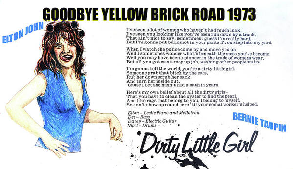Rock And Roll Poster featuring the mixed media Dirty little girl 1973 by David Lee Thompson