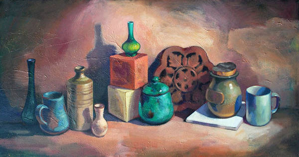 Sill Life Poster featuring the painting Still Life II by Farhan Abouassali