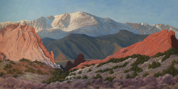 Pikes Peak Poster featuring the painting 120402-1836 Pikes Peak from the Garden of the Gods by Kenneth Shanika