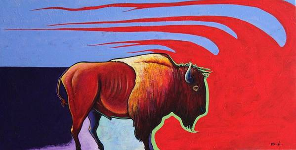 Bison Poster featuring the painting Bison in the Winds of Change by Joe Triano