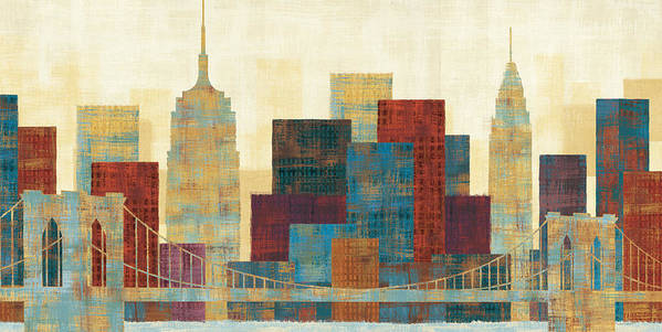 Blue Poster featuring the painting Majestic City by Michael Mullan