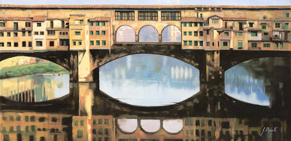 Pontevecchio Poster featuring the painting Ponte Vecchio a Firenze by Guido Borelli