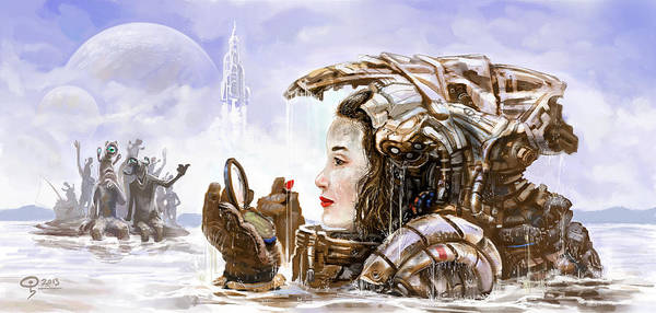 Sci Fi Poster featuring the digital art Sci Fi Girl by Odysseas Stamoglou