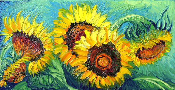 Isabelle Poster featuring the painting Sunflowers by Isabelle Gervais