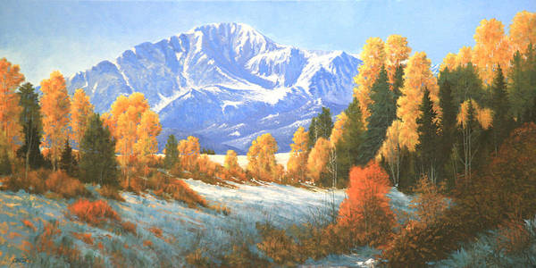 Pikes Peak Poster featuring the painting Autumn's Song - Pikes Peak 111119-1836 by Kenneth Shanika