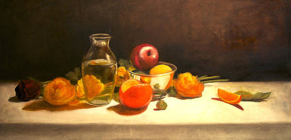 Orange Poster featuring the painting Silver and Glass by Jayne Howard