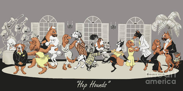 Dogs Poster featuring the painting Hep hounds by Constance Depler