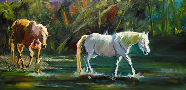 Horse Poster featuring the painting 7D Horse River by Diane Whitehead
