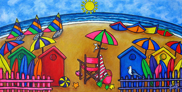 Beach Poster featuring the painting Beach Colours by Lisa Lorenz