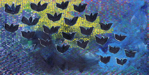 Abstract Pattern Birds Black Yellow Blue Horizontal Shapes Shadows Poster featuring the painting BlackBirds by Joan De Bot