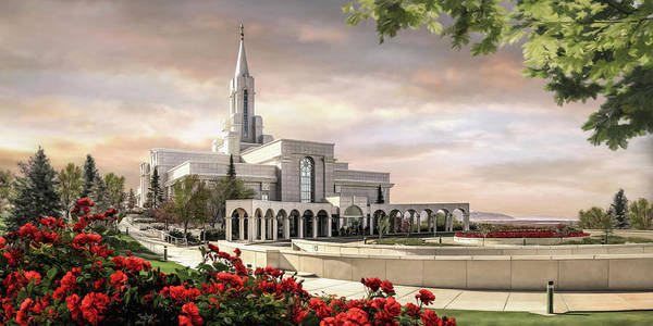 Bountiful Poster featuring the painting Bountiful Temple by Brent Borup