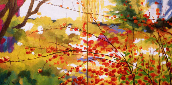 Landscape Poster featuring the painting Chinese Garden Grace by Melody Cleary