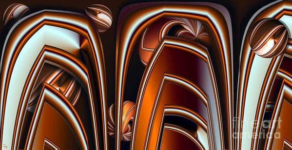 Abstract Poster featuring the digital art Copper Shields by Ron Bissett