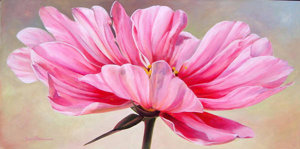 Floral Painting Poster featuring the painting Cosmos de bullion by Muriel Dolemieux