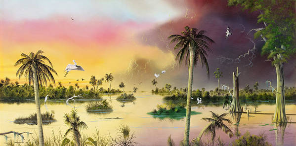 Landscape Poster featuring the painting Everglades by Don Griffiths