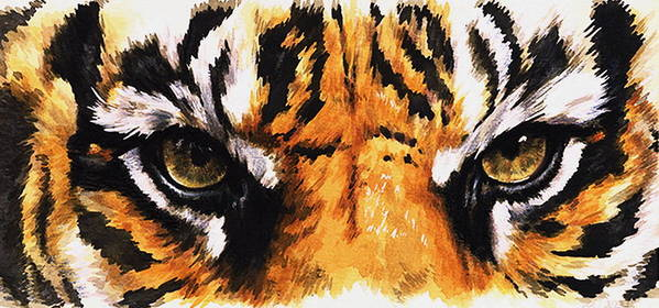 Feline Poster featuring the mixed media Sumatran Tiger Glare by Barbara Keith