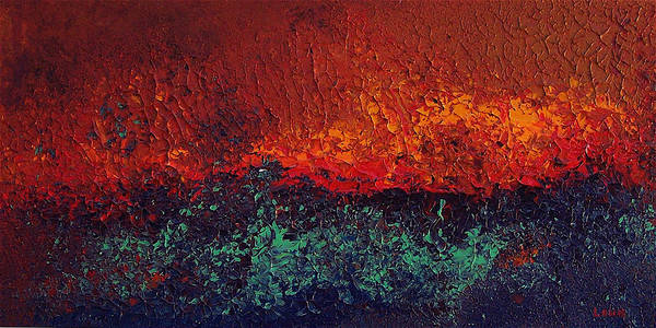 Abstract Poster featuring the painting Firestorm by Michael Lewis