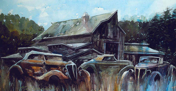 Barn Poster featuring the painting Ford Cabriolets Guard the Barn by Ron Morrison