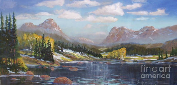 Rocky Mountain National Park Poster featuring the painting Introducing Winter by Heather Coen