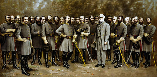 Confederate Poster featuring the painting Robert E. Lee and His Generals by War Is Hell Store
